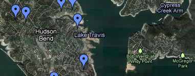 Lake Travis Search Map