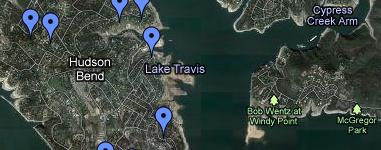 Lake Travis Search Map
